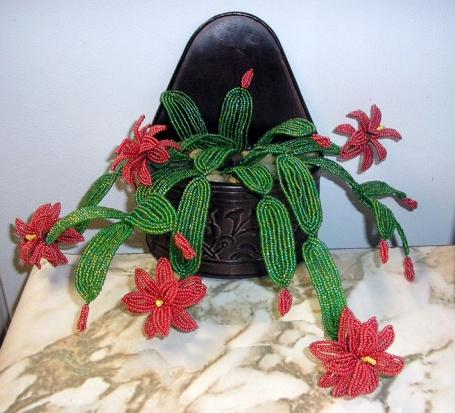 Как сделать кактус из бисера пошаговое
