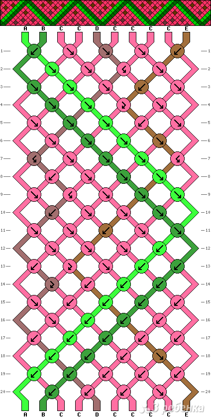 Схемы фенечек косым плетением от 20 нитей